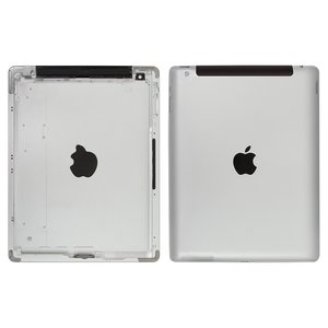 Back Cover for Apple iPad 4 Tablet, (silver, version 3G )