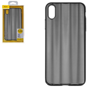 Case Baseus compatible with iPhone XS Max, (black, with iridescent color, matt, plastic) #WIAPIPH65-JG01